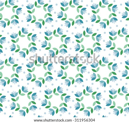 Abstract vector seamless circle pattern of fantasy flowers in fresh mint colors - stock vector