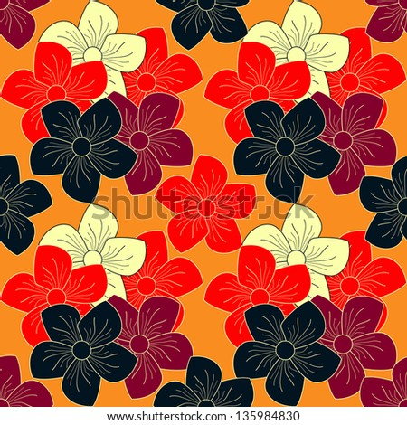 abstract vector seamless floral pattern