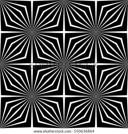 Abstract vector seamless op art pattern. Monochrome graphic black and white ornament. Striped optical illusion repeating texture.