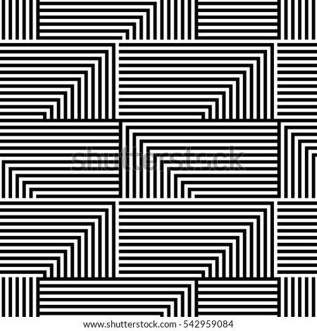 Abstract vector seamless op art pattern with lines. Monochrome graphic black and white ornament. Striped optical illusion repeating texture.