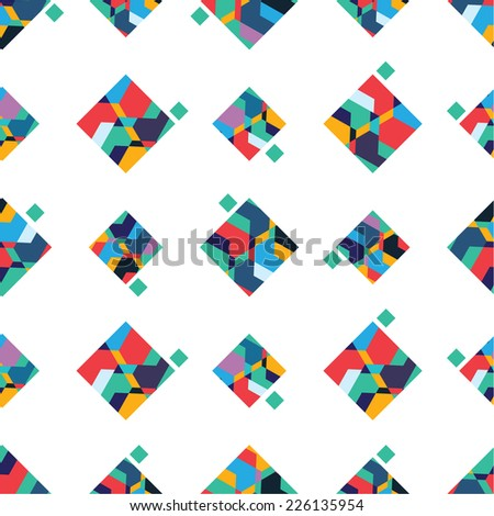 Abstract vector seamless pattern, colorful geometric - stock vector