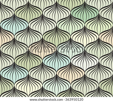 Abstract vector seamless pattern. Floral line swirl geometric texture. Stylish abstract ornamental plant background
