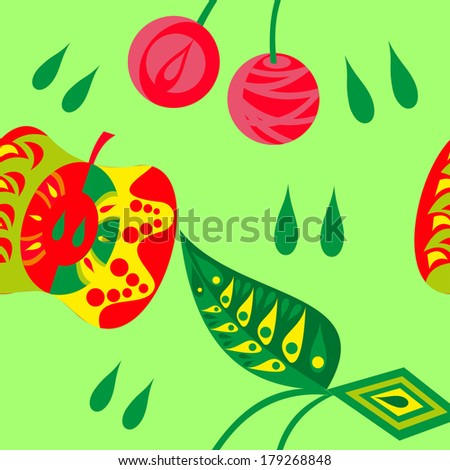 Abstract vector seamless pattern of cherry and apple - stock vector