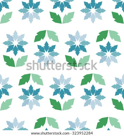 Abstract vector seamless pattern of fantasy flowers in fresh mint colors - stock vector