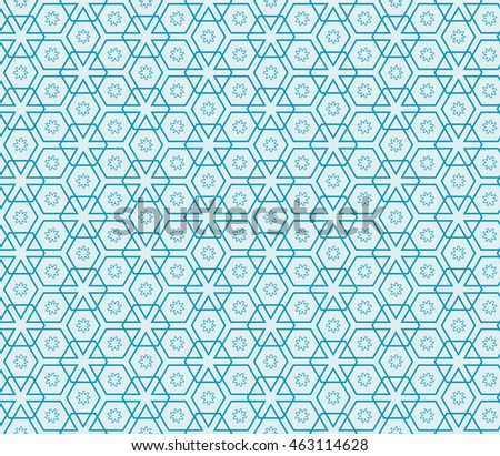 Abstract Vector seamless pattern with abstract floral and leave style. Repeating sample figure and line. For modern interiors design, wallpaper, textile industry. Blue color