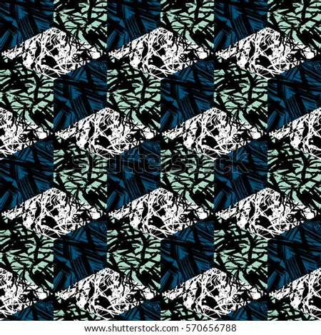 Abstract vector seamless pattern with cubes and marble texture in memphis style.