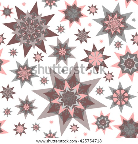 Abstract vector seamless pattern with decorative colorful stars. - stock vector