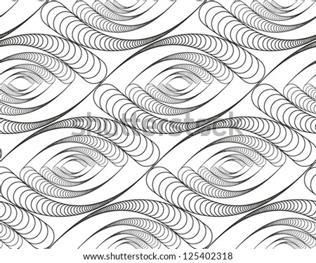 Abstract vector seamless pattern with eye-like figure. Black and white background - stock vector