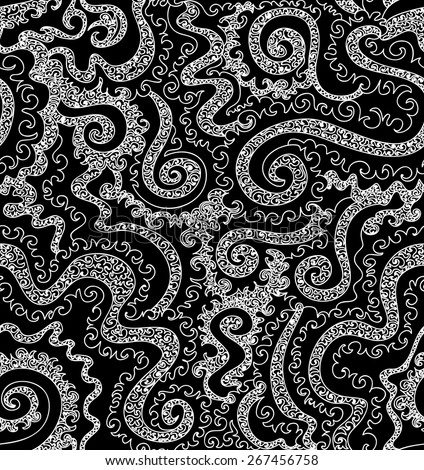 Abstract vector seamless pattern with figured curling lines. Endless texture - stock vector