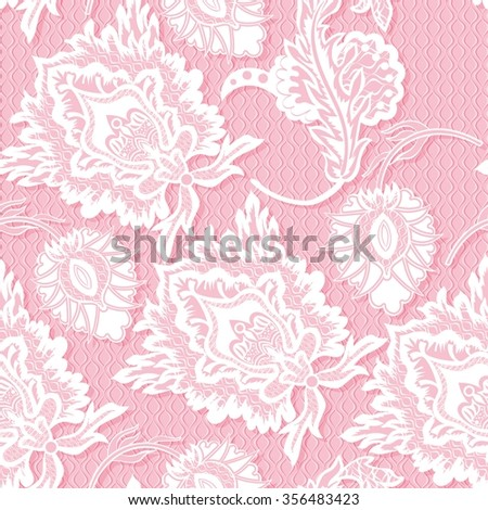Abstract vector seamless pattern with lace flowers