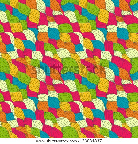 Abstract vector seamless pattern with weaving curly elements, bright colors