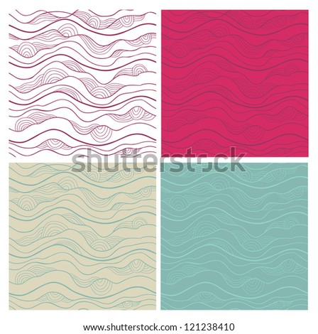 Abstract vector seamless patterns set. Fancy doodle.