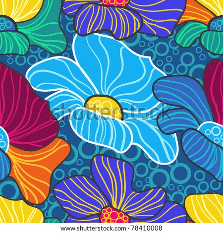 Abstract vector seamless texture with bright drawing flowers - stock vector