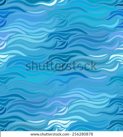 Abstract vector seamless wave blue background of drawn lines - stock vector