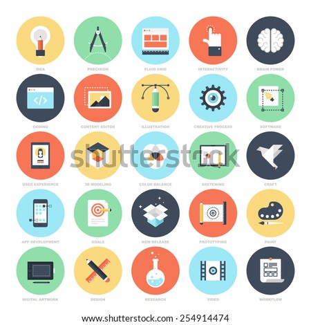 Abstract vector set of colorful flat creative process icons. Concepts and design elements for mobile and web applications. - stock vector