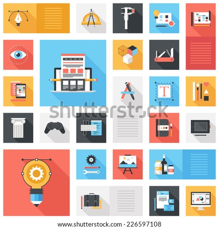 Abstract vector set of colorful flat design and development icons with long shadow. Design elements for mobile and web applications. - stock vector
