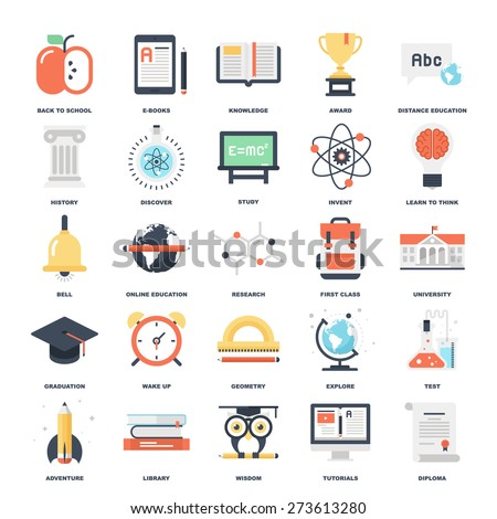 Abstract vector set of colorful flat education and knowledge icons. Creative concepts and design elements for mobile and web applications. - stock vector