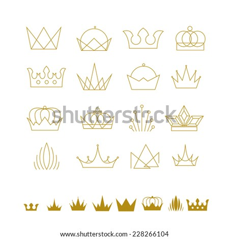 abstract vector set of crowns creative ideas and objects for design - stock vector