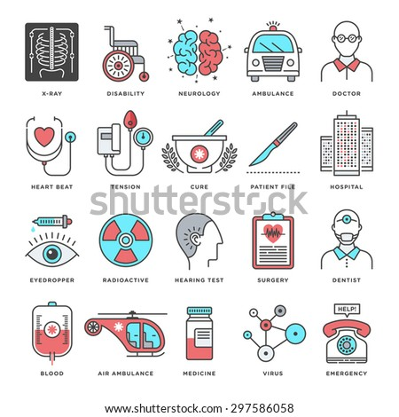 Abstract vector set of line color icons for medicine and science. Modern style illustrations and design elements for medical and health care services. - stock vector