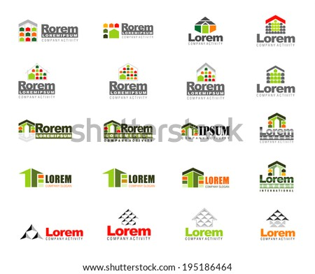 Abstract vector set of real estate signs in green, orange,red and grey - stock vector