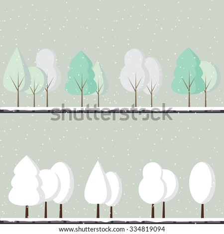 Abstract vector set of winter trees on a light blue background. Winter trees covered with snow. White frosty trees. Winter landscape. Forest.  - stock vector