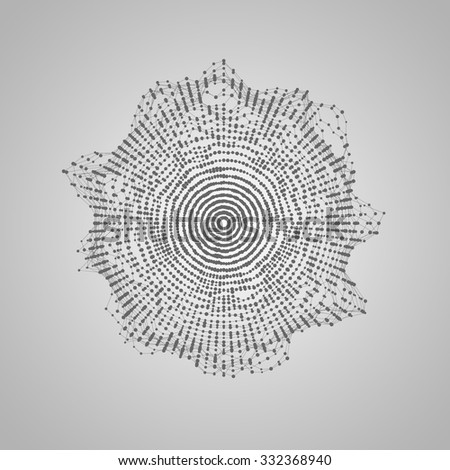 Abstract vector shape of particles array. Futuristic vector illustration. HUD element. Technology digital splash or explosion concept - stock vector