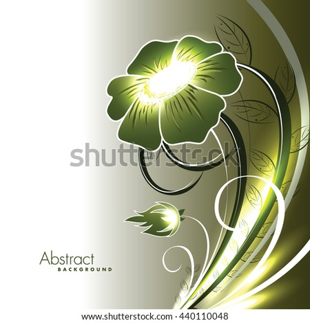 Abstract Vector Shiny Green Flower. - stock vector