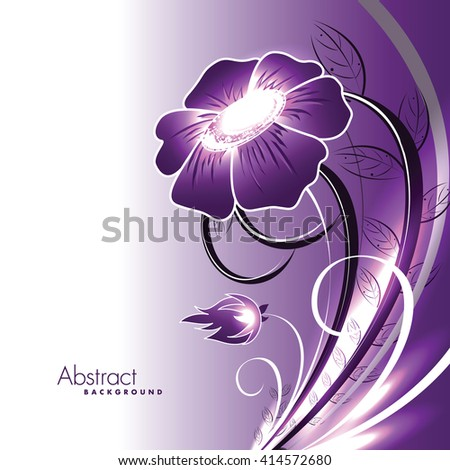 Abstract Vector Shiny Purple Flower. - stock vector