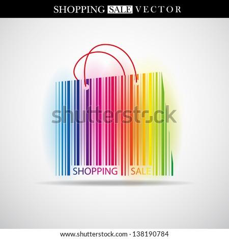 Abstract vector shopping bag made from bar-code - Sale theme - stock vector