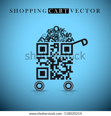 Abstract vector shopping cart made from QR-code - stock vector