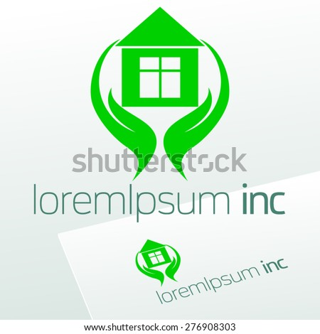 Abstract vector sign with hands and house. Logo for  Ecology activity