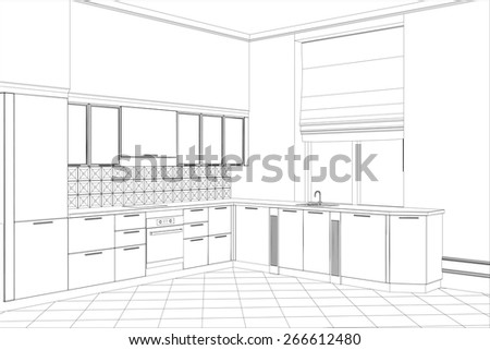 Abstract vector sketch interior. Illustration created of 3d. - stock vector