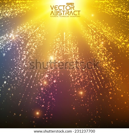 Abstract vector space background. Explosion of glowing particles and light rays. Futuristic technology style. Elegant background for business presentations or gift cards.EPS10 - stock vector