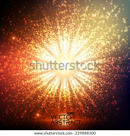 Abstract vector space background. Explosion of glowing particles. Futuristic technology style. Elegant background for business presentations or gift cards.EPS10 - stock vector