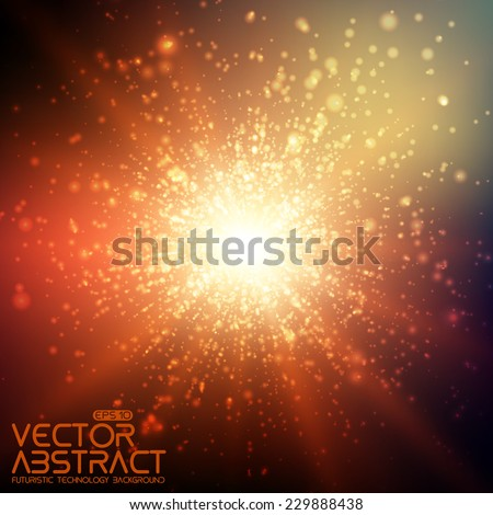 Abstract vector space background. Explosion of glowing particles. Futuristic technology style. Elegant background for business presentations or gift cards.EPS10