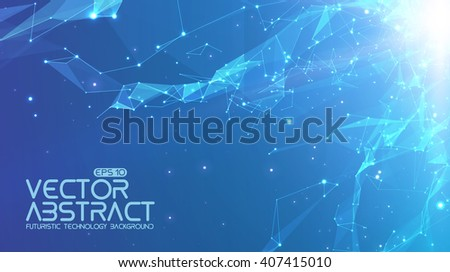 Abstract vector space light blue background. Chaotically connected points and polygons flying in space. Flying debris. Futuristic technology style. Elegant background for business presentations.  - stock vector