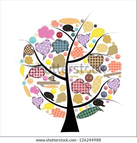 Abstract Vector speech bubble tree illustration - stock vector