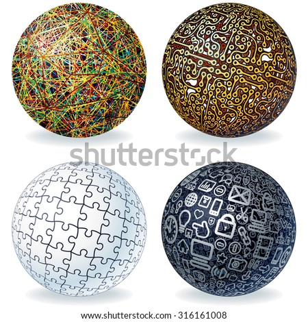 Abstract Vector Spheres Set. Geometric Modern Globe, Technology Concept, Digital Data Visualization, Social Network Graphic Concept. - stock vector