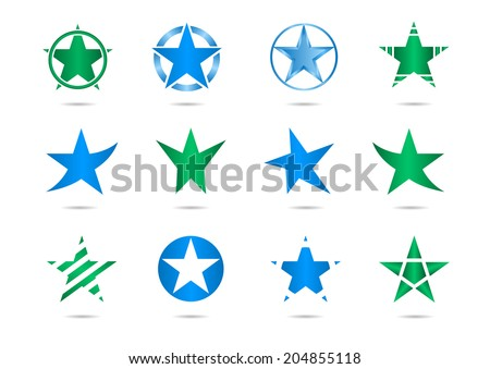Abstract vector stars signs. - stock vector