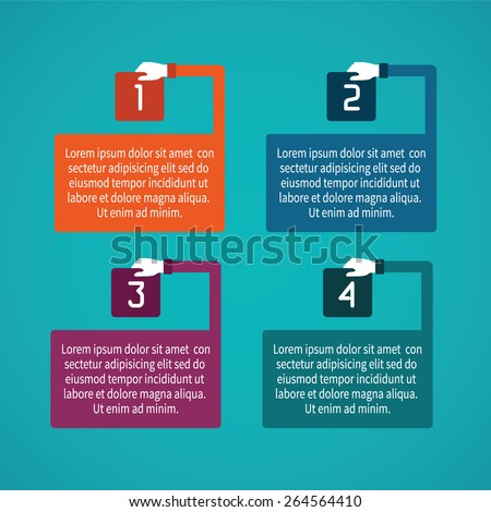 Abstract vector 4 steps infographic template in flat style for layout workflow scheme, numbered options, chart or diagram - stock vector