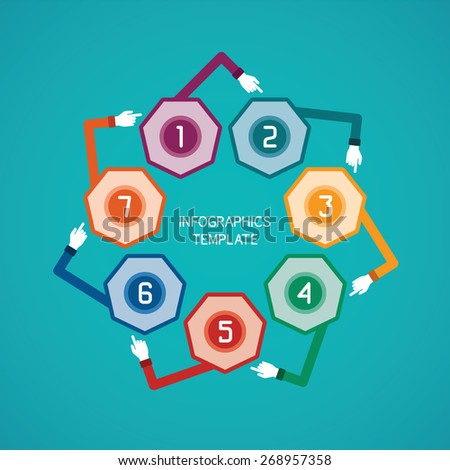 Abstract vector 7 steps infographic template in flat style for layout workflow scheme, numbered options, chart or diagram