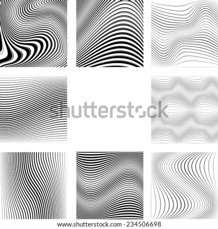 Abstract Vector Striped Background. Black and White Stripes Texture Collection . Wave Stripes . Curved Lines .  - stock vector