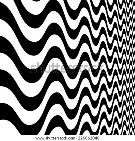 Abstract Vector Striped Background. Black and White Stripes . Wave Stripes . Zig zag Curved Lines .  - stock vector