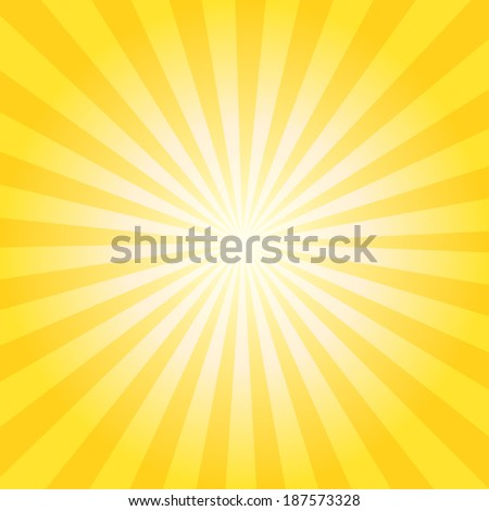 Abstract vector sunburst background with yellow and orange lines for sun effect and summer mood. EPS 10 vector illustration. - stock vector