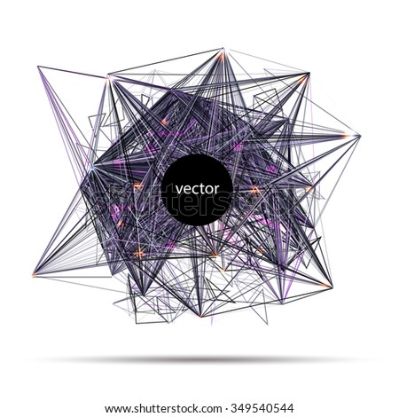 Abstract vector techno science banner of invitation for electronic music party or science conference. Vector illustration. - stock vector