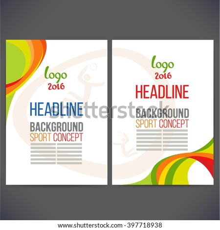 Abstract vector template design, brochure, Web sites, page, leaflet, with colored lines and waves, logo and text separately. Sport concept banners. Logo 2016