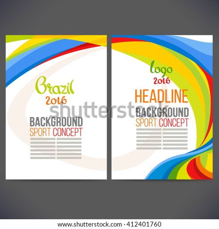 Abstract vector template design, brochure, Web sites, page, leaflet, with colored lines and waves, logo and text separately. Sport concept banners.2016 - stock vector