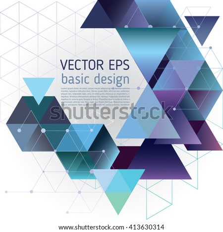 Abstract vector template design, brochure, web sites, with colorful geometric triangular background - stock vector