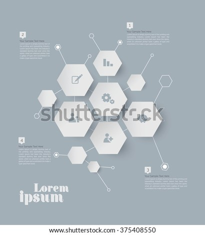 Abstract vector template design, Modern Style Abstract vector template design, brochure, page, leaflet, with White Polygon Backgrounds, Icon and text separately.  - stock vector