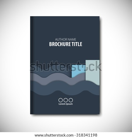Abstract vector template layout for brochure, flyer, booklet, cover. Blue color version. - stock vector